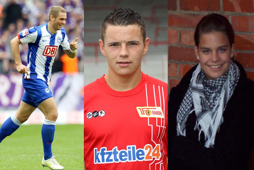Egal ob auf dem Spielfeld oder privat: Diese Drei haben gut lachen. Sie sind die Gewinner der Wahl zum Fußballer der Saison 2010/2011 in den Kategorien Profi, Amateur männlich und weiblich. © Foto: 2x Getty Images und privat.